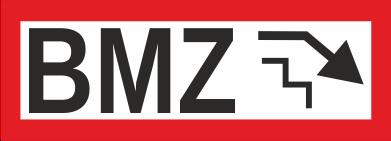 """Aufkleber UV Digitaldruck """"BMZ mit Treppe und Pfeil nach unten"""""""
