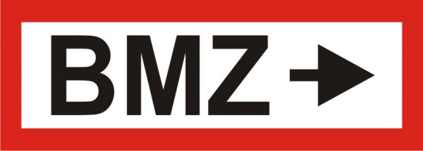 """Aufkleber UV Digitaldruck """"BMZ mit Pfeil rechts"""""""